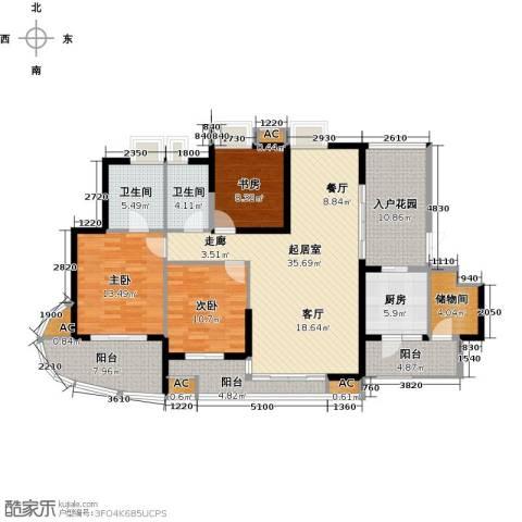 湖滨壹号3室0厅2卫1厨137.00㎡户型图