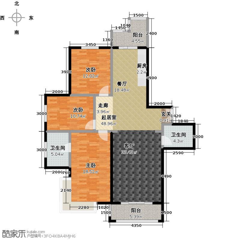 漫步巴黎参考使用面积110平户型3室2厅2卫