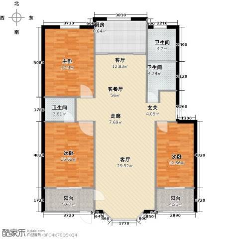欧韵华庭3室1厅3卫1厨142.00㎡户型图
