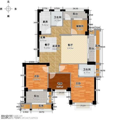 诚盛御庭3室0厅2卫1厨120.00㎡户型图