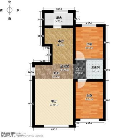 天富东苑2室0厅1卫1厨90.00㎡户型图