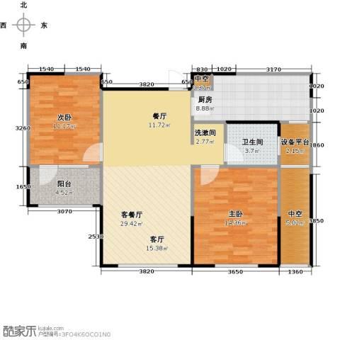 朗诗绿色街区2室1厅1卫1厨86.00㎡户型图