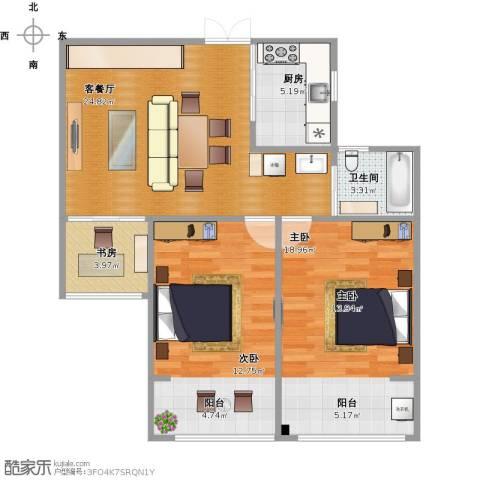 嘉盛龙庭3室1厅1卫1厨100.00㎡户型图