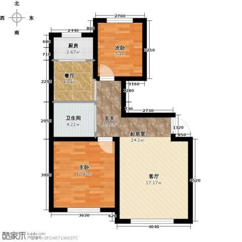 天富东苑2室1厅1卫1厨87.00㎡户型图
