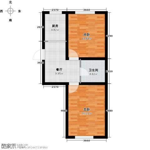 盛阳华苑2室1厅1卫1厨74.00㎡户型图
