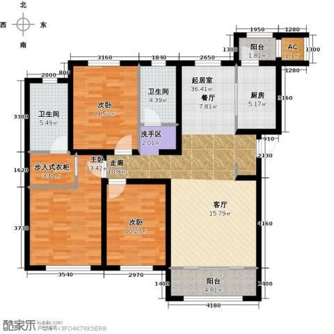 华厦津典三期川水园3室0厅2卫1厨144.00㎡户型图