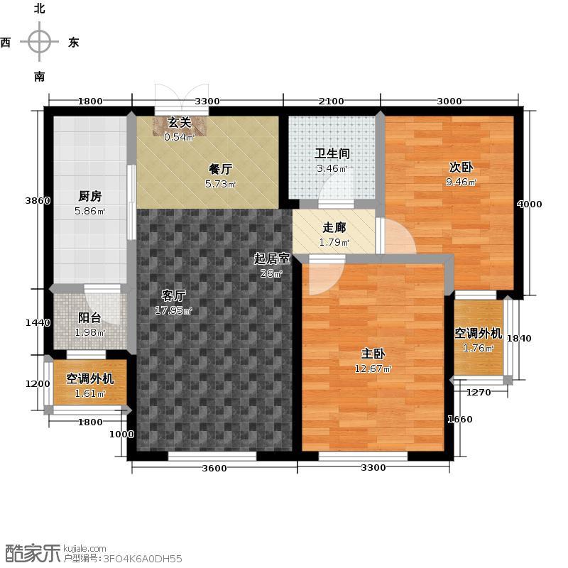 中国水电首郡83.00㎡B户型两室两厅一卫约83平米户型2室2厅1卫