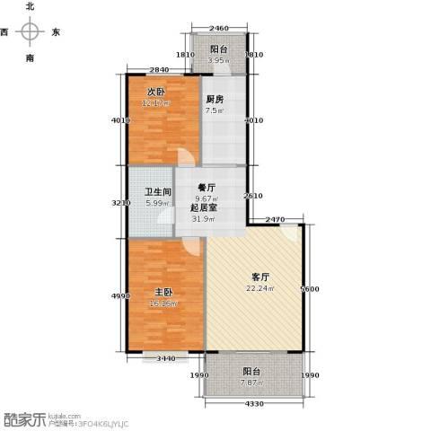 华远水木清华2室0厅1卫1厨115.00㎡户型图