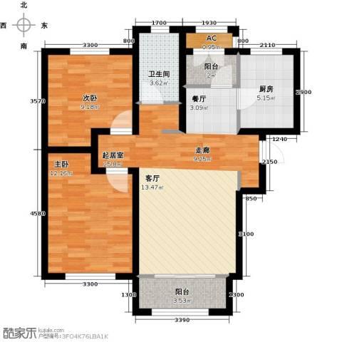 华厦津典三期川水园2室0厅1卫1厨99.00㎡户型图