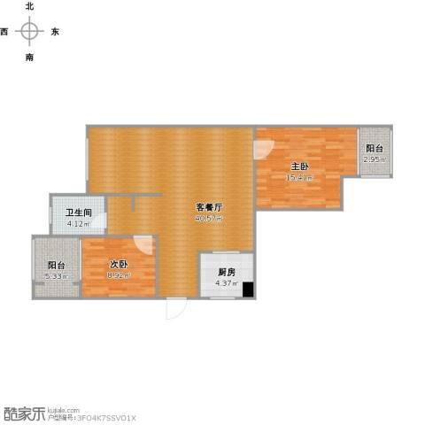 青枫墅园2室1厅1卫1厨110.00㎡户型图