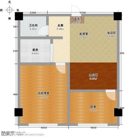 蓝海公寓1卫1厨88.00㎡户型图