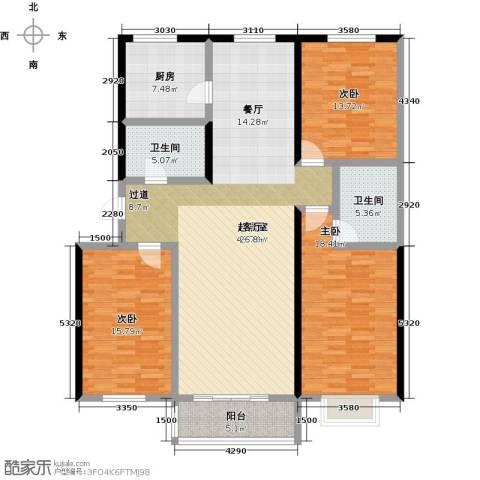 大学时光3室0厅2卫1厨139.00㎡户型图