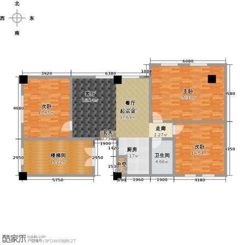 蓝海公寓3室0厅1卫0厨163.00㎡户型图