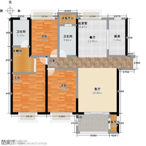 国贸天琴湾3室0厅2卫1厨142.00㎡户型图