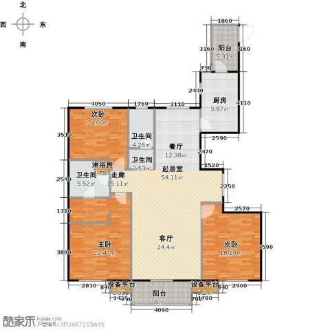 哈西万达广场3室0厅2卫1厨153.00㎡户型图