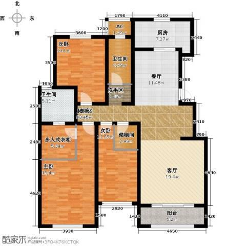 华厦津典三期川水园3室0厅2卫1厨164.00㎡户型图