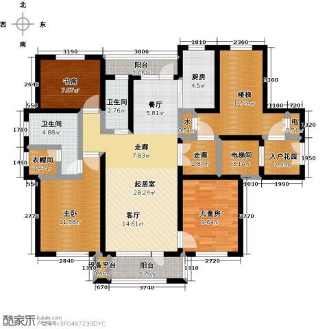 领秀蓝珀湖3室0厅2卫1厨118.86㎡户型图