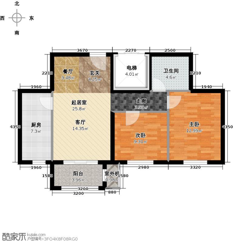 朱辛庄限价房B(2-2)户型2室1卫1厨
