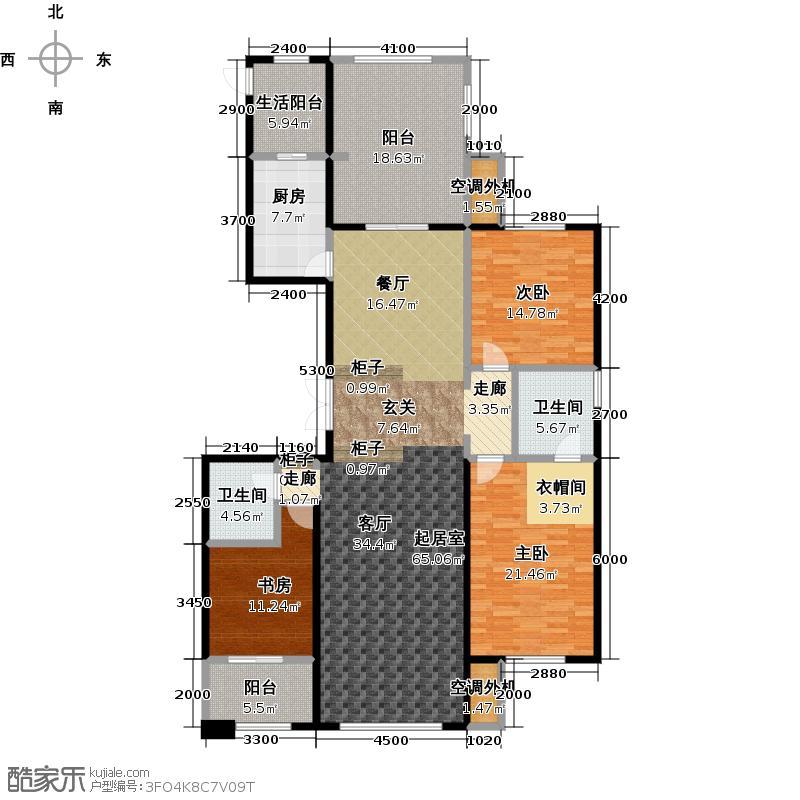 宝宇天邑澜湾213.77㎡该户型分布在6#1单元1号2号,3单元1号户型3室2厅2卫