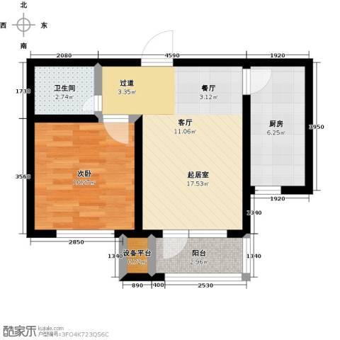 领秀蓝珀湖1室0厅1卫1厨48.03㎡户型图