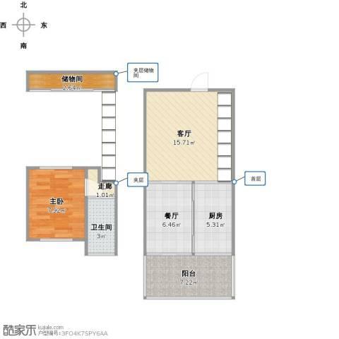 东方都会广场1室2厅1卫1厨68.00㎡户型图