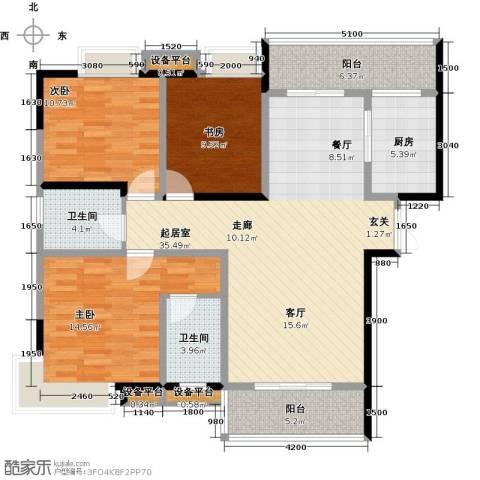 锦上华庭铭邸3室0厅2卫1厨97.00㎡户型图