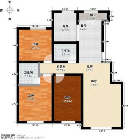 盛阳华苑3室0厅2卫1厨129.00㎡户型图
