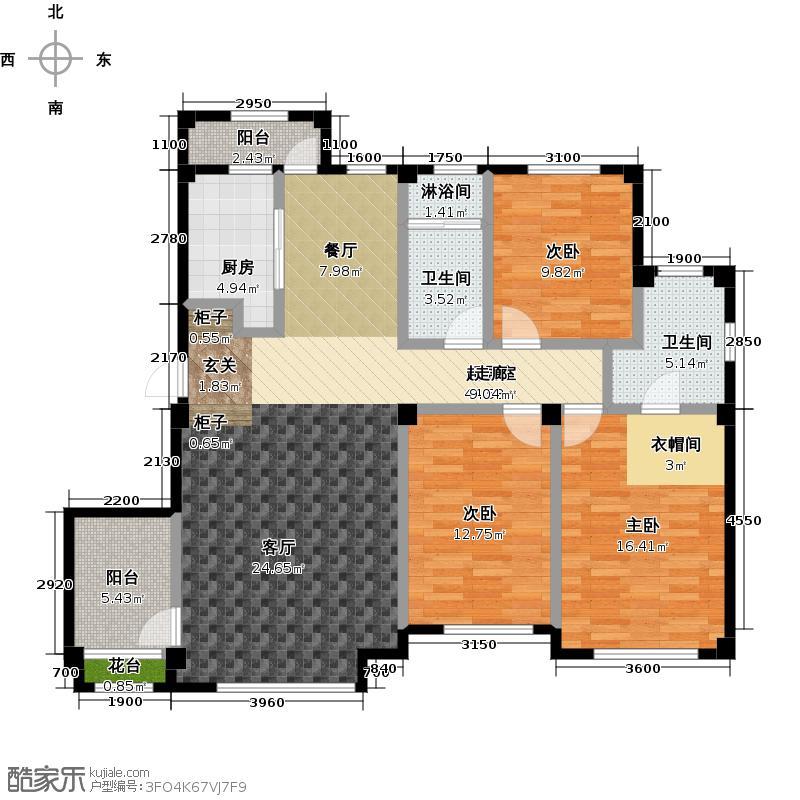 金石城114.00㎡B户型 三室二厅一卫户型3室2厅1卫