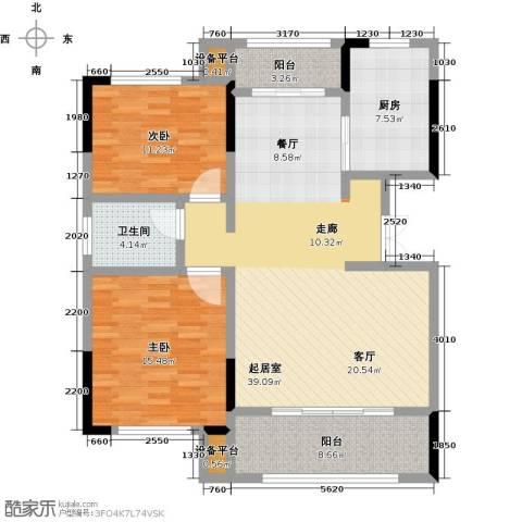 御景华庭2室0厅1卫1厨100.00㎡户型图