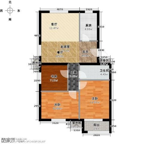 朱辛庄限价房3室0厅1卫1厨88.00㎡户型图