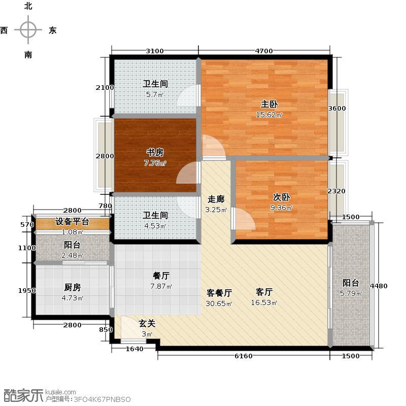 东方文德广场B1栋G户型3室1厅2卫1厨