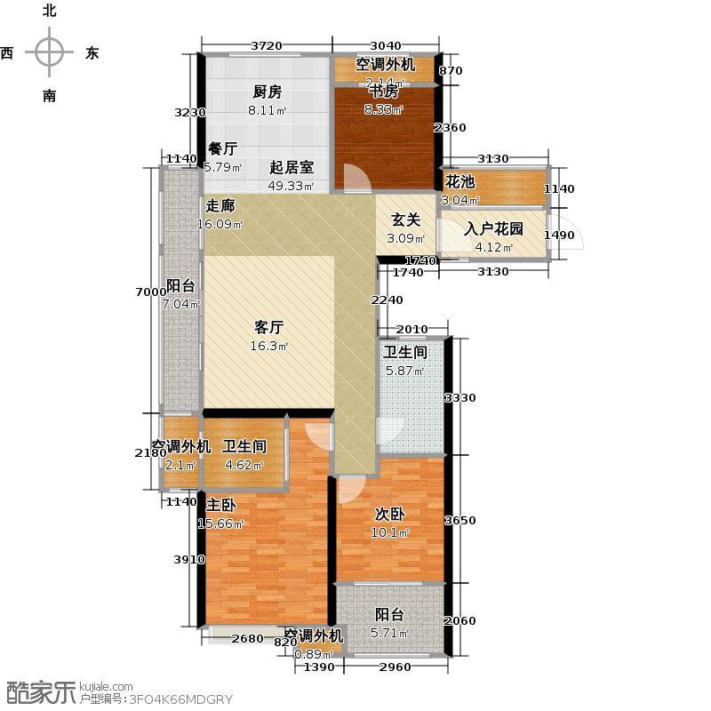 百兴华府131.00㎡6-D户型图3室2厅2卫131平米户型3室2厅2卫
