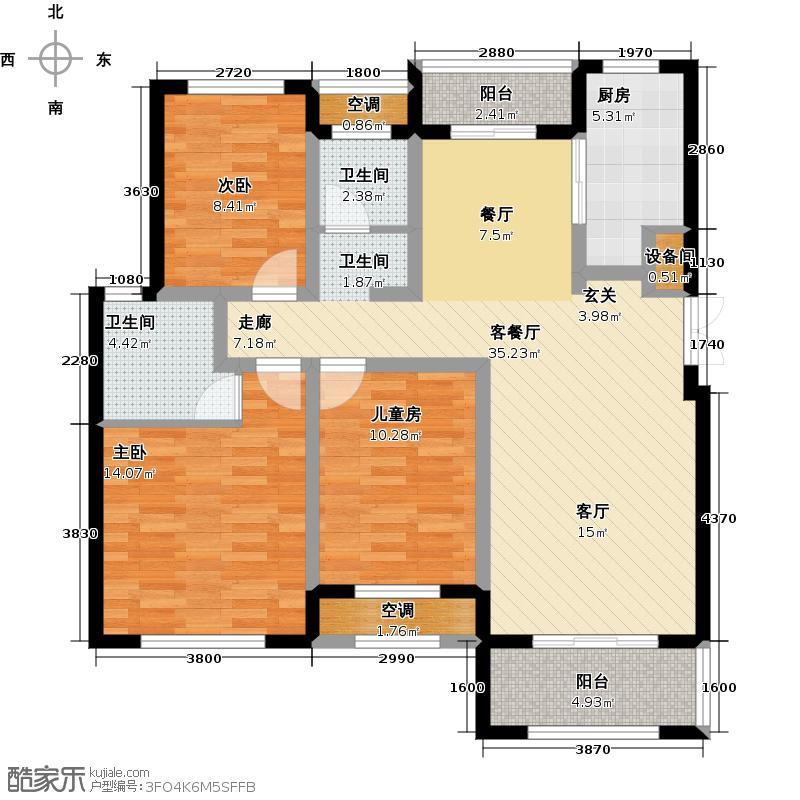 长葛建业桂园未命名户型3室1厅2卫1厨