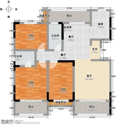 御景华庭3室0厅2卫1厨135.00㎡户型图