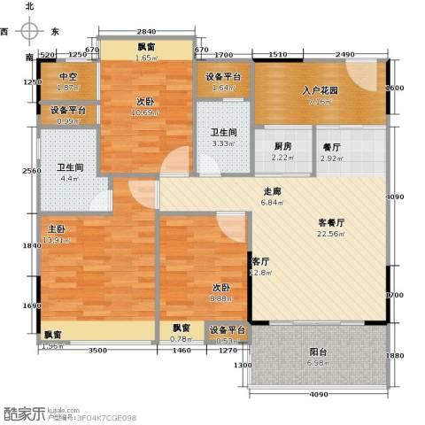 三角科尔玛城3室1厅2卫1厨89.00㎡户型图