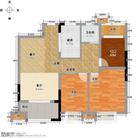 旭辉悦庭3室0厅1卫1厨88.00㎡户型图