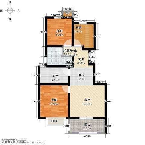 学府华园3室0厅1卫1厨86.00㎡户型图