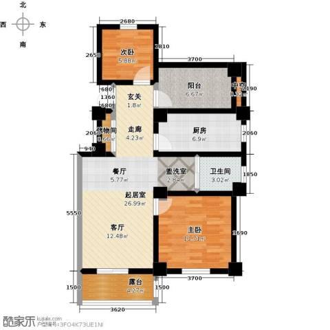 学府华园2室0厅1卫1厨90.00㎡户型图