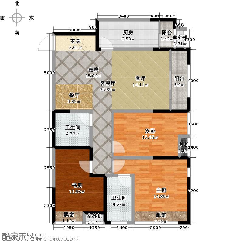 阳光100国际新城117.19㎡三室两厅两卫户型3室2厅2卫