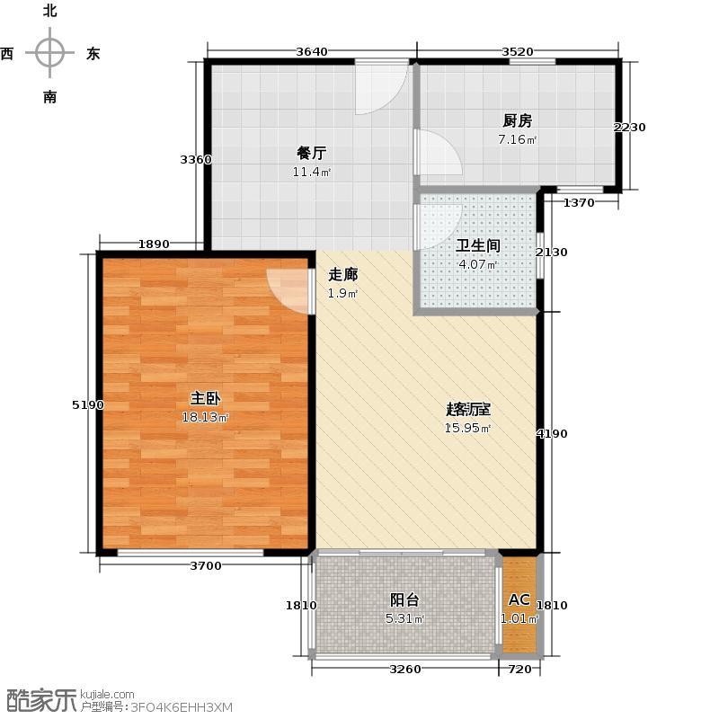 �海逸景湾69.52㎡高层E-6户型1室2厅1卫