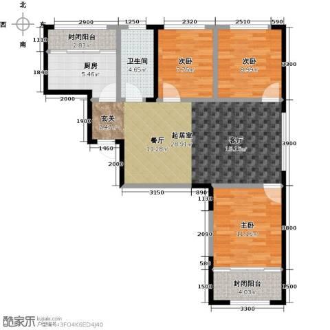 白领公寓3室0厅1卫1厨97.00㎡户型图