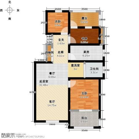 学府华园3室0厅1卫1厨99.00㎡户型图