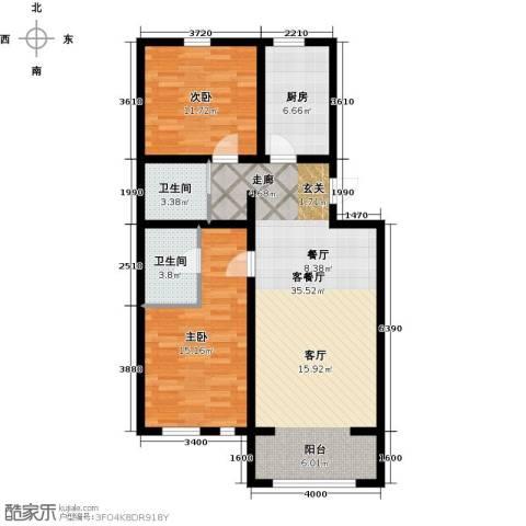 华风龙腾郡2室1厅2卫1厨94.00㎡户型图