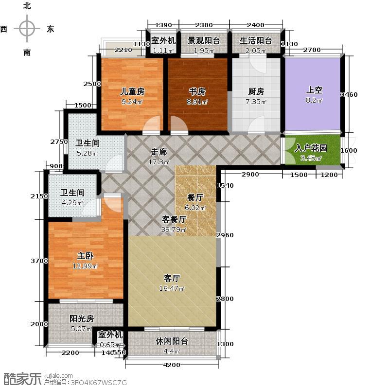 阳光100国际新城92.00㎡阳光100五期户型 三室两厅两卫户型3室2厅2卫