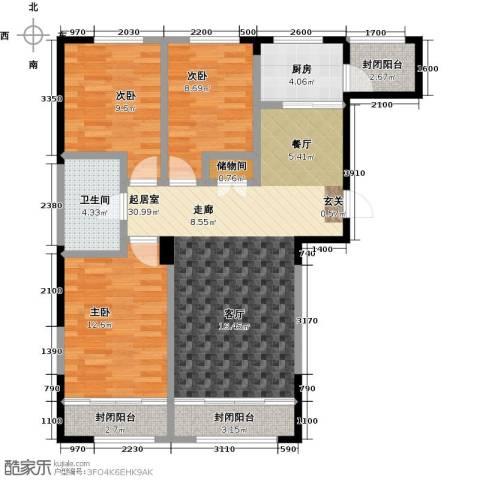 白领公寓3室0厅1卫1厨103.00㎡户型图