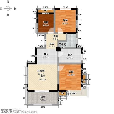 学府华园3室0厅1卫1厨112.00㎡户型图