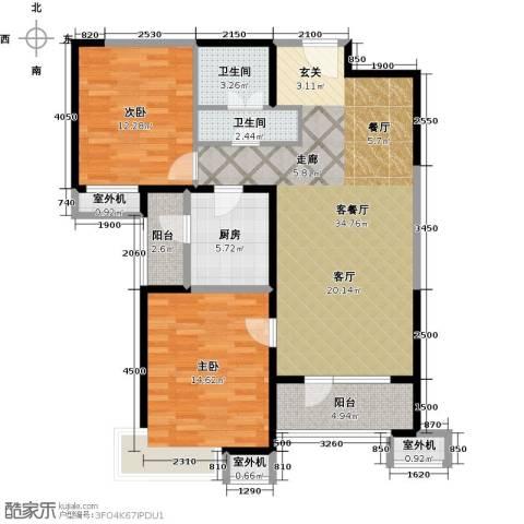 天津湾海景文苑2室1厅2卫1厨113.00㎡户型图