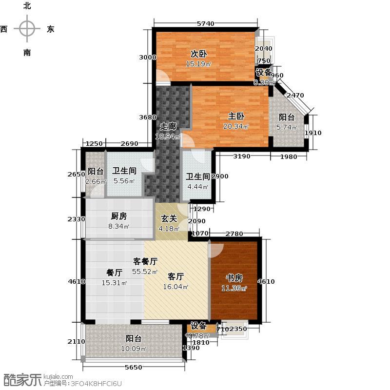 万泽御河湾174.84㎡2C三室两厅两卫户型