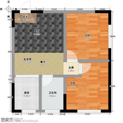 白领公寓2室0厅1卫1厨67.00㎡户型图