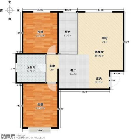 新华名座2室1厅1卫1厨92.00㎡户型图